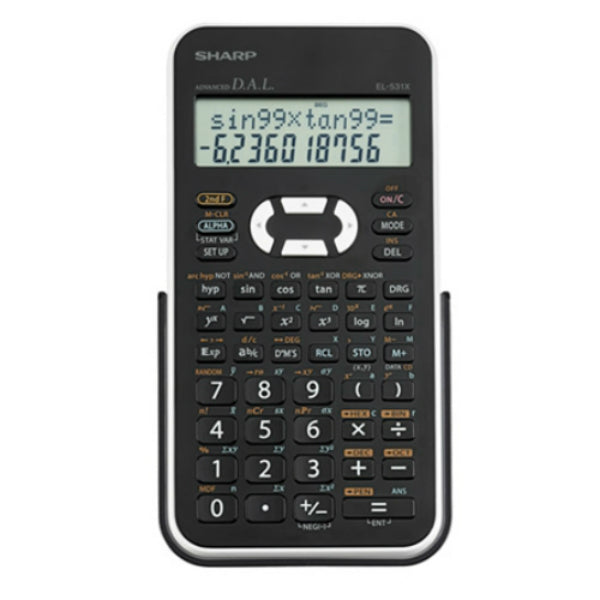 Sharp® EL531XBWH Scientific Calculator with Large 12-digit 2-line LCD display