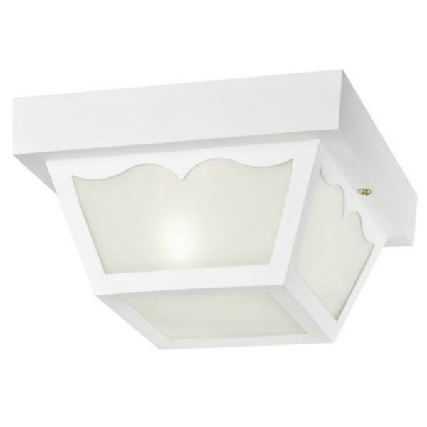 Westinghouse 66975 Flush-Mount 1-Light Outdoor Fixture w/ Glass Panel, White