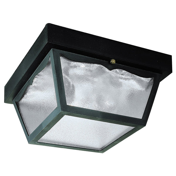 Westinghouse 66823 Two-Light Flush-Mount Outdoor Fixture w/ Glass Panel, Black