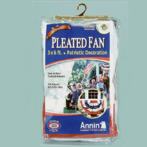 Annin Flagmakers 483200R Polycotton Pleated Fan with 5 Stripes & Stars, 3' x 6'