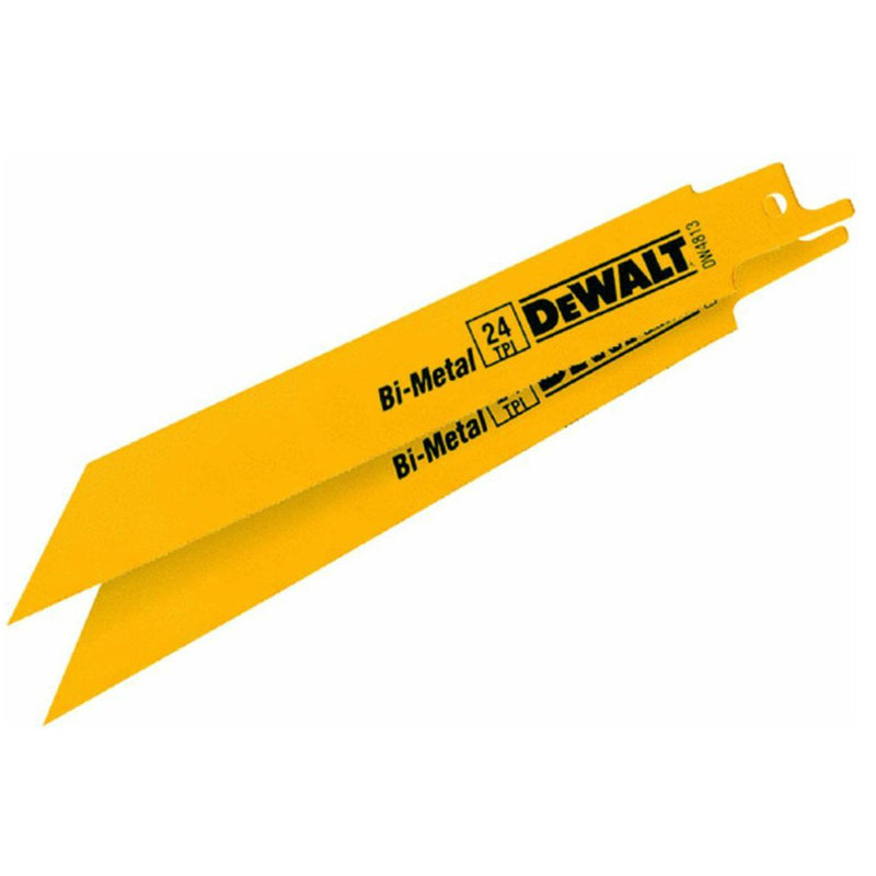 "DeWalt® DW4813-2 Straight Back Bimetal Reciprocating Saw Blades, 24 TPI, 6"",2-Pk"