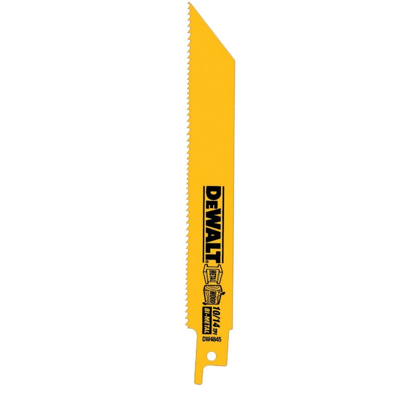 DeWalt® DW4845-2 Straight Back Bimetal Reciprocating Saw Blades, 10/14TPI, 2-Pk