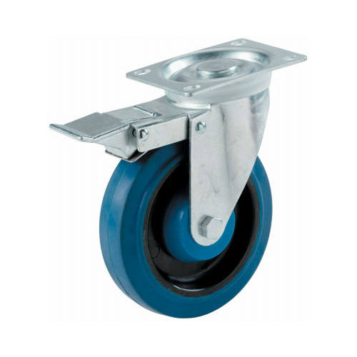 "Shepherd Hardware 9262 Elastic Rubber Swivel Plate Caster w/Lock Brake, 4"", Blue"