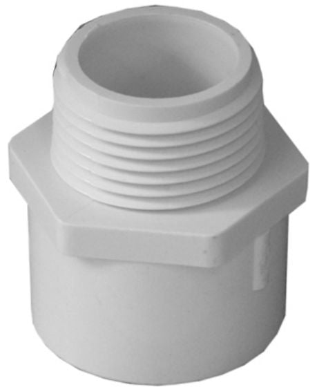 "Genova 30412 PVC Reducing Male Adapter, 2"" x 1-1/2"", White"