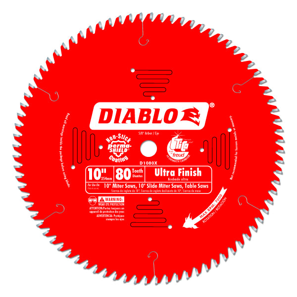 "Diablo D1080X Ultra Fine Finish Blade, 10"" x 80 Tooth, 5/8"" Arbor"