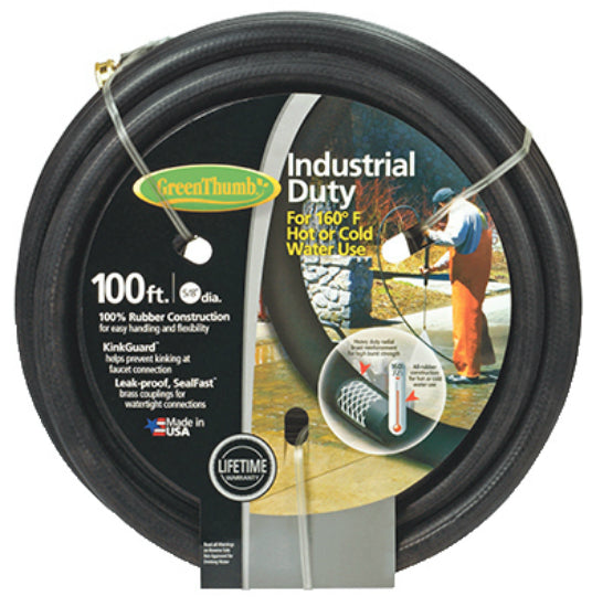 "Green Thumb 8650-100 Rubber Garden Hose, 5/8"" x 100', Black"