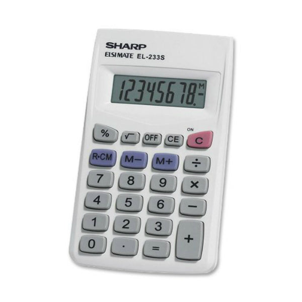 Sharp® EL233SB LCD Display Calculator, 8 Digit, 3-Key Memory