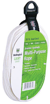 "Wellington 15634 Diamond Braided Nylon Multi-Purpose Rope, White, 1/8"" x 48'"