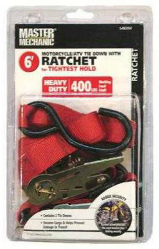 Master Mechanic MM30 Cycle Ratchet Tie Down, 6', 2-Pack