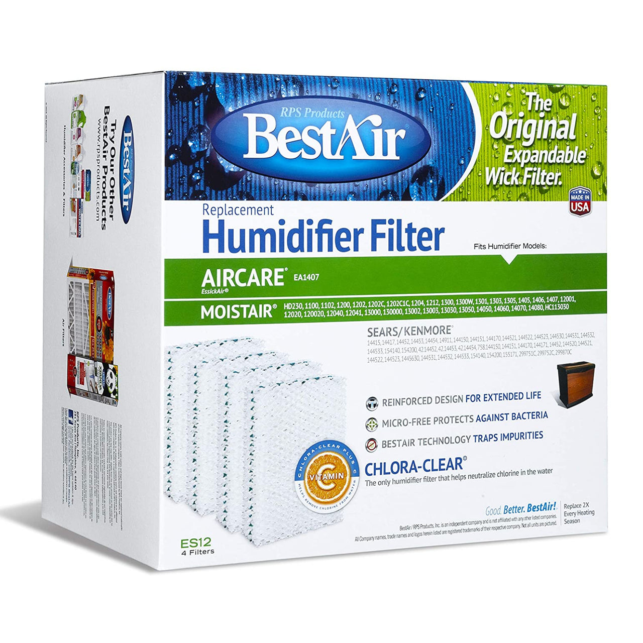 BestAir ES12-2 Extended Life Humidifier Wick Filter, 4-Pack