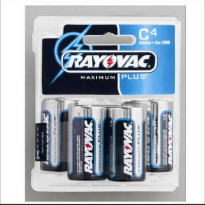 "Rayovac 814-4 Size ""C"" Alkaline Battery, 4 Pack"