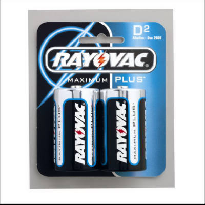 "Rayovac 813-2 Size ""D"" Alkaline Battery, 2 Pack"