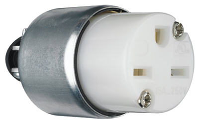 Pass & Seymour Armored Connector, 15A, 250V, White