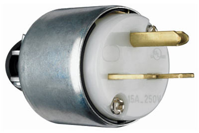 Pass & Seymour Armored Plug, 15A, 250V, White