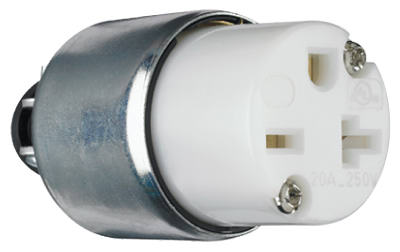 Pass & Seymour Armored Connector, 20A, 250V, White