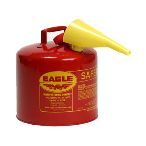 Eagle UI-50-FS Type I Safety Can with F-15 Funnel, 5 Gallon, Red