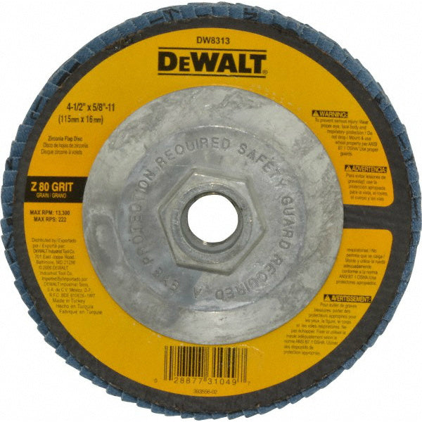 "DeWalt® DW8313 High Performance™ Zirconia Flap Disc, 80 Grit, 4-1/2"" x 5/8""-11"