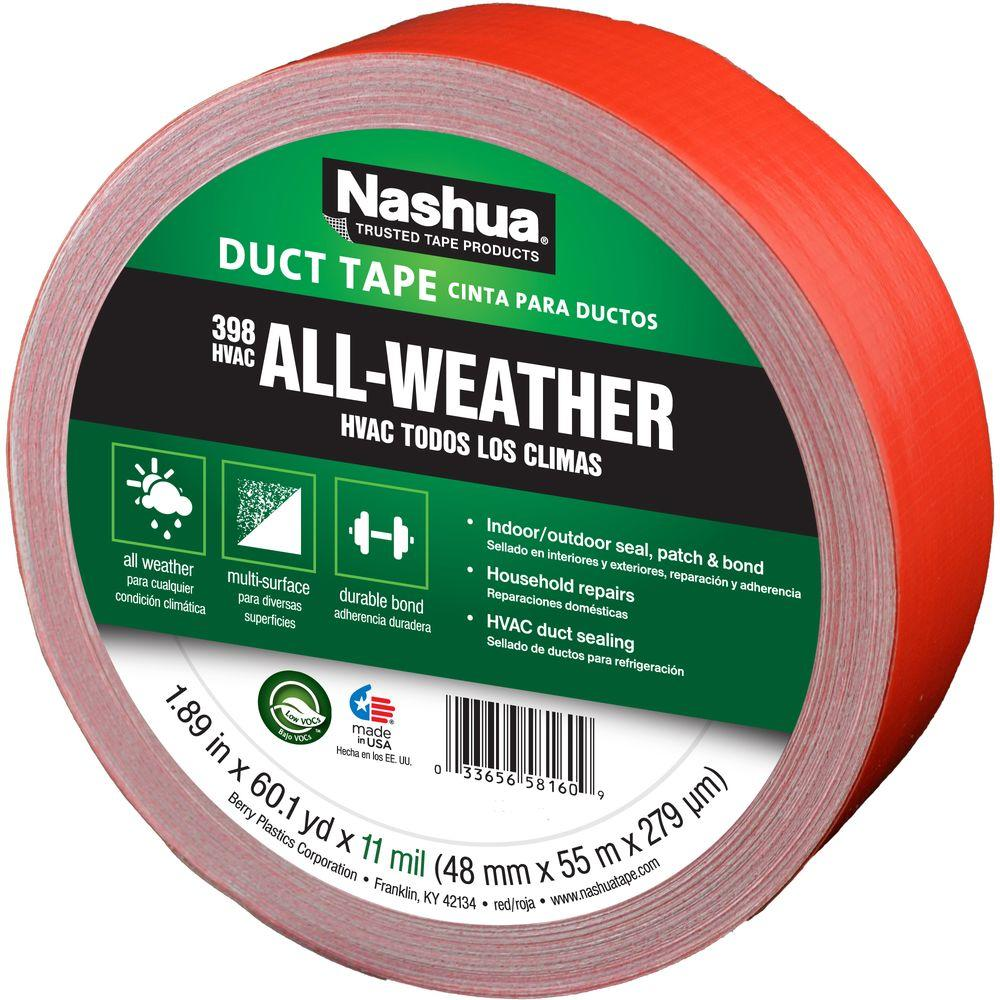 "Nashua® 1207798 All-Weather HVAC Duct Tape, Red, 11 Mil, 1.89"" x 60 Yd, #398"