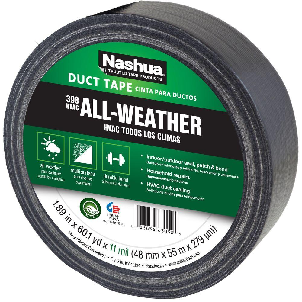 "Nashua® 1207791 All-Weather HVAC Duct Tape, Black, 11 Mil, 1.89"" x 60 Yd, #398"