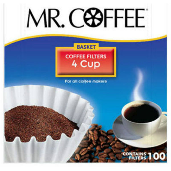Mr. Coffee® JR100 Basket Style Coffee Filters, White, 4-Cup, 100-Count