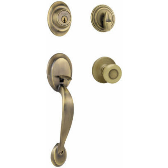Kwikset® 687DAXT-5-SMT-CP Security Dakota Entry Handleset, Antique Brass