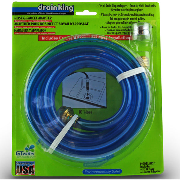 Drain King® 157 Hose & Faucet Adapter Kit w/ 10' Hose & Brass Faucet Adapter