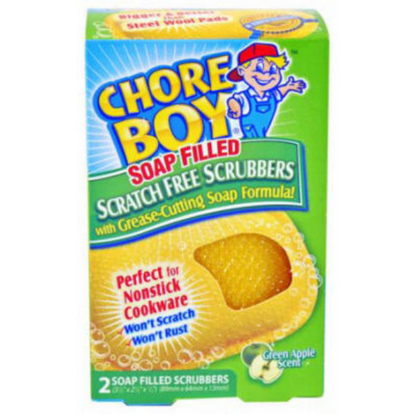 Chore Boy® 10811435002265 Soap-Filled Scratch Free Scrubbers, 2-Pack