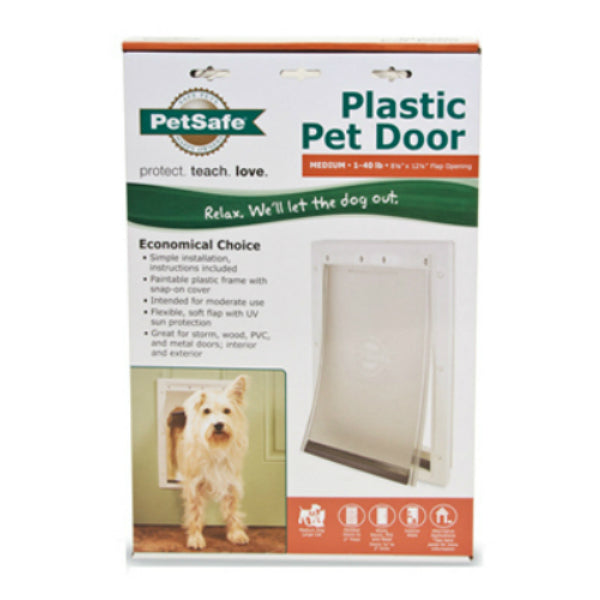 PetSafe® PPA00-10959 Plastic Frame Pet Door, Medium, White