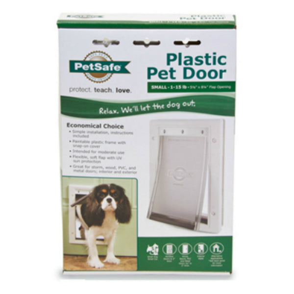 PetSafe® PPA00-10958 Durable Plastic Frame Pet Door, Small, White