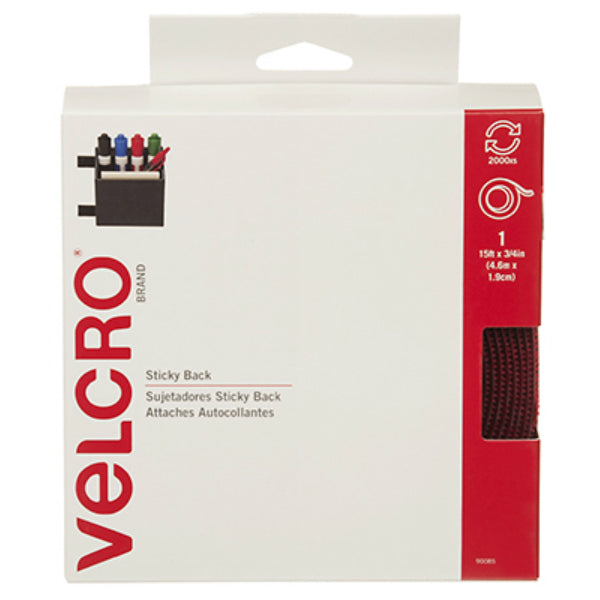 "Velcro® 90085 Red Velcro Sticky Back Tape, 3/4""W x 15'L"