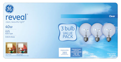 GE Lighting 11658 Reveal® G25 Globe Incandescent Bulb, 40W, Clear, 3-Pack