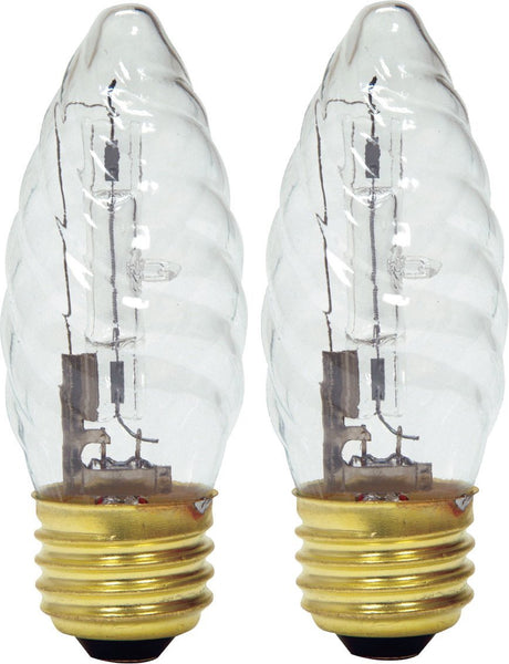 GE Lighting 16766 Medium Base F15 Flame Tip Halogen Bulb, Faceted, 25W, 2-Pack