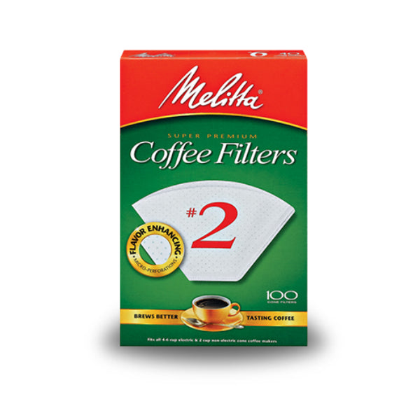 Melitta® 622712 Cone Coffee Filter, White, #2, 100-Pack