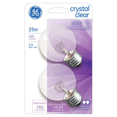 GE Lighting 42360 Incandescent G16.5 Globe Light Bulb, Crystal Clear, 25W, 2-Pack