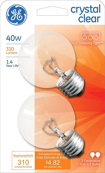 GE Lighting 31109 Incandescent G16.5 Globe Bulb, Crystal Clear, 40W, 2-Pack