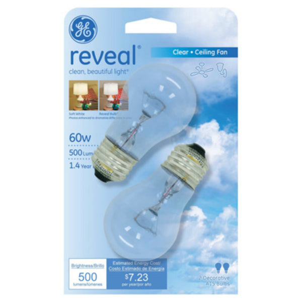 GE Lighting 48698 Reveal® Medium-Base A15 Ceiling Fan Bulb, Clear, 60W, 2-Pack