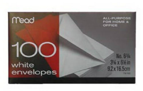 "Mead® 75100 White Envelopes, #6, 3-5/8"" x 6-1/2"", 100-Pack"