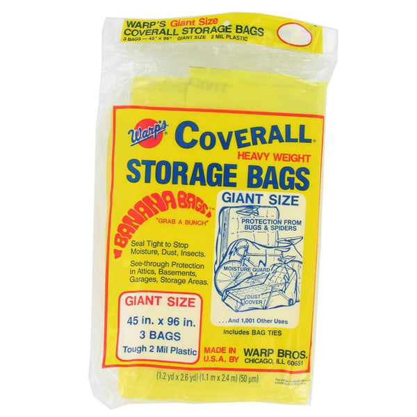 "Warp's® CB-45 Original Heavyweight Giant Storage Bags, 45"" x 96"", Yellow, 3-Pack"