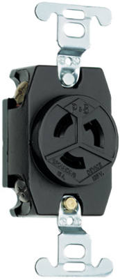 Pass & Seymour Turnlok Single Receptacle, 15A, 125V, Black