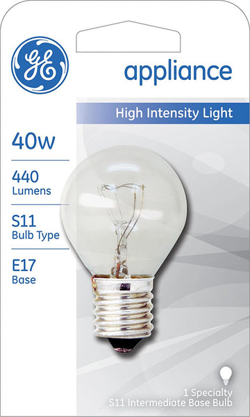 GE Lighting 35156 High Intensity S11 Appliance Light Bulb, Clear, 40W