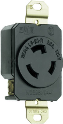 Pass & Seymour Turnlok Single Receptacle, 20A, 125V, Black