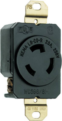 Pass & Seymour Turnlok Single Receptacle, 20A, 250V, Black