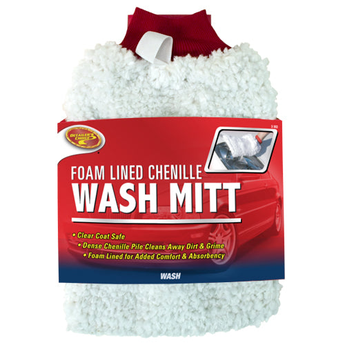 Detailer's Choice® 2-3028 Deluxe Foam Lined Chenille Wash Mitt, White