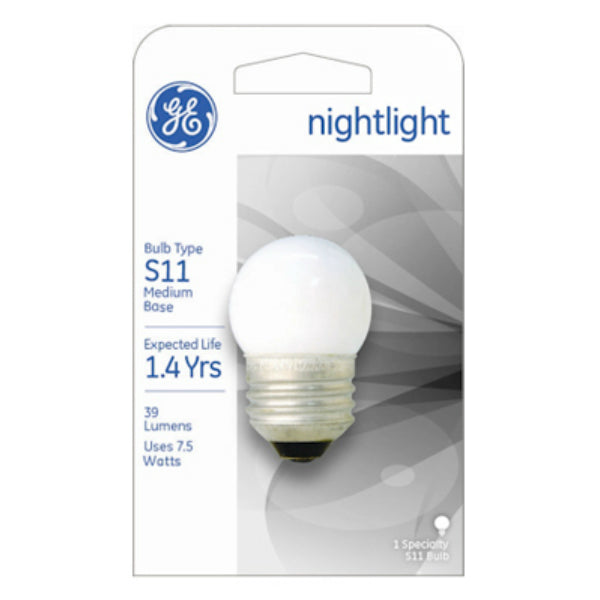 GE Lighting 41267 Incandescent S11 Nightlight Bulb, 7.5-Watt, Soft White