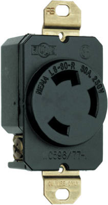 Pass & Seymour Turnlok Single Receptacle, 30A, 250V, Black