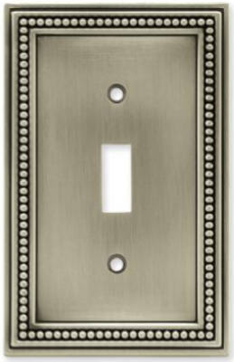 Brainerd 64905 Beaded Single Switch Plate, Brushed Satin Pewter
