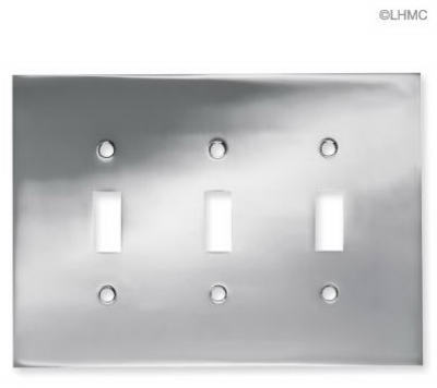 Brainerd 66899 Concave Triple Switch Wall Plate, Polished Chrome
