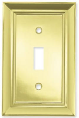 Brainerd 64198 Architectural Single Switch Wall Plate, Polished Brass