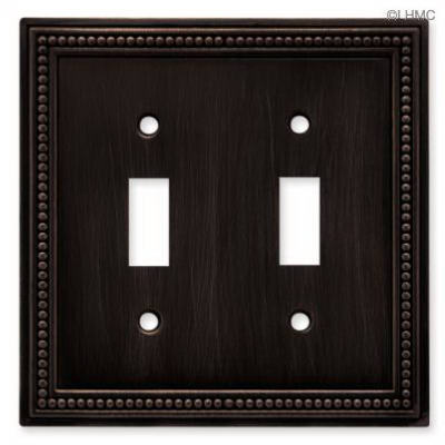Brainerd 64409 Beaded Double Switch Wall Plate, Venetian Bronze