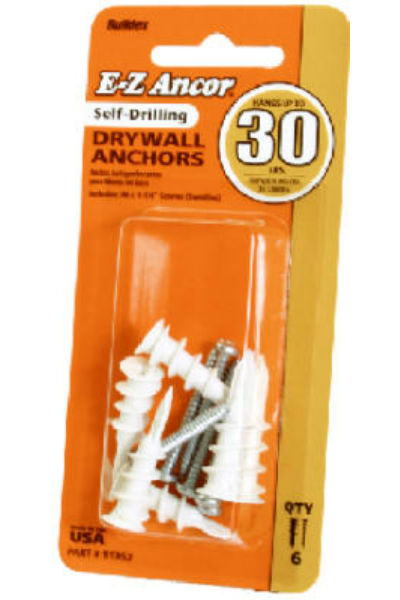 E-Z Ancor 11353 Self-Drilling Drywall Anchors with Screws, 50 Lb Load, 6-Pack